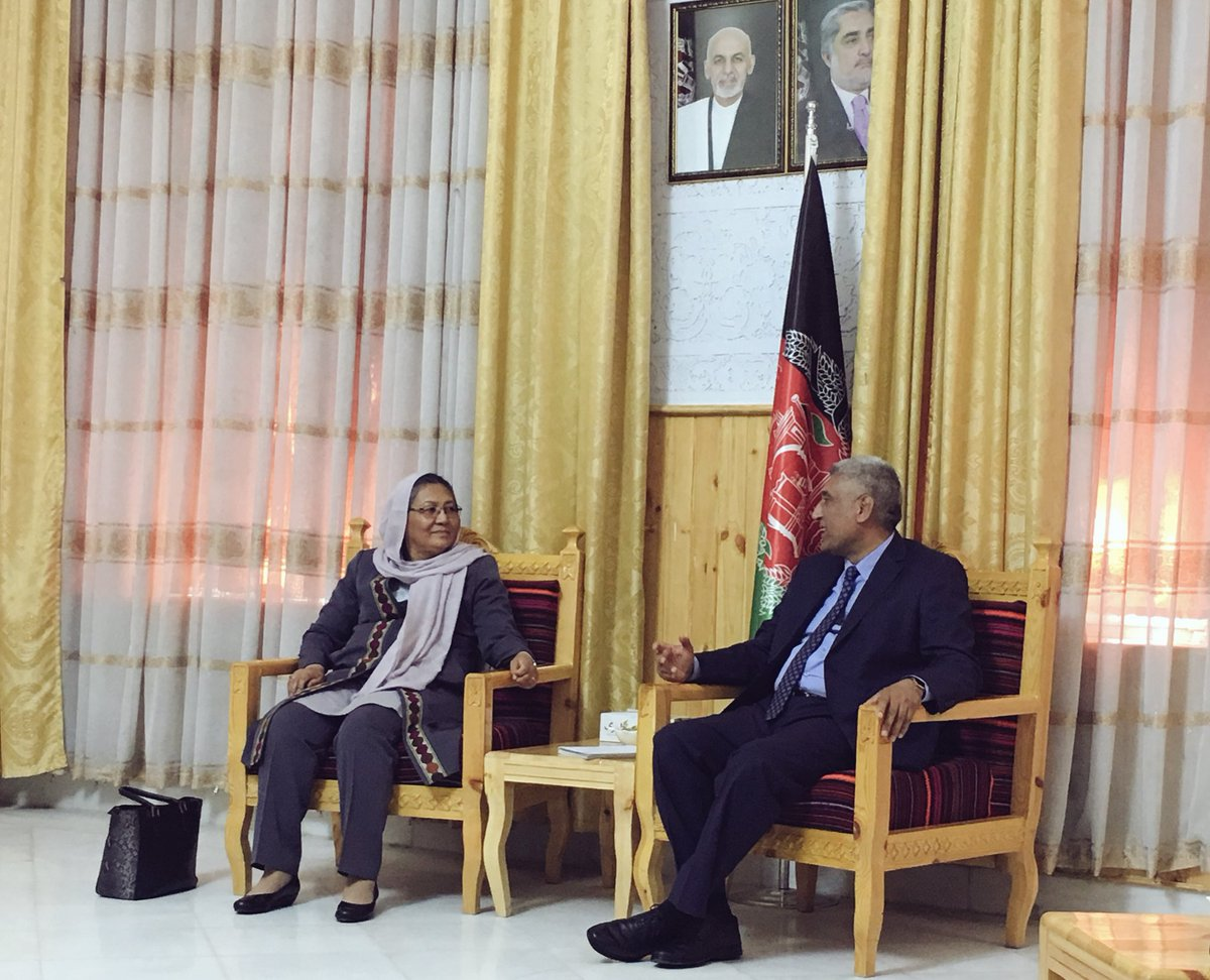 Deputy HPC chair @SarabiHabiba along w HPC delegation met Governor Rahimi of Herat Province prior to #HPC_Peace_Conference with western zone Youth, women & Civil Society activists to be held in an hour time in Herat city.  Governor Rahimi welcomed HPC's recent efforts for peace.