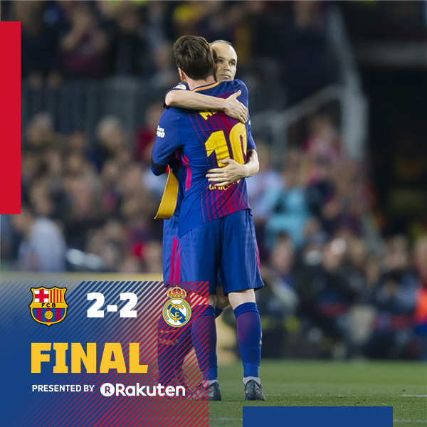 ⏰ Final whistle at Camp Nou! ⚽ FC Barcelona 2-2 Real Madrid  👟 Luis Suárez and Messi / Cristiano Ronaldo and Gareth Bale 🔵🔴 #El Clásico