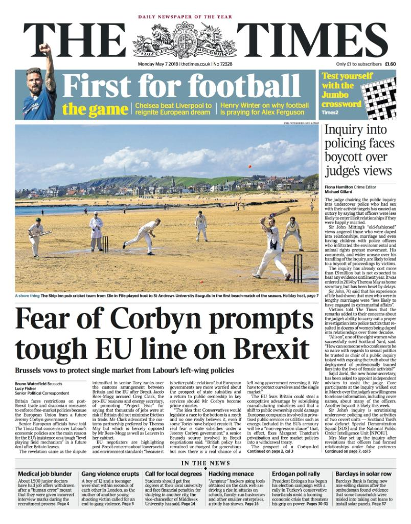 Tomorrow's front page: Fear of Corbyn prompts tough EU line on Brexit #tomorrowspaperstoday https://t.co/Zs94Q9w7jB