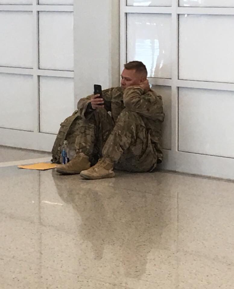 This Army soldier's flight was delayed. He had to watch the birth of his daughter on FaceTime. I wanted to share this because I never want us to forget about our soldiers who serve us everyday and the sacrifices they make.
