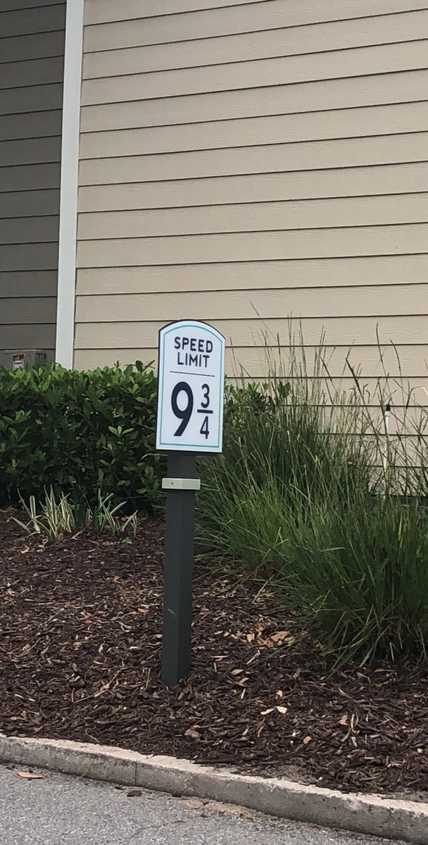 Who ever chose the speed limit in my friends apartment complex, you are the man/woman  #HarryPotter #wizard #93/4
