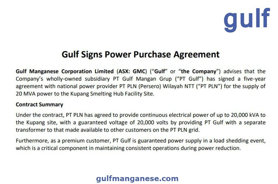 Gulf Manganese On Twitter Asx Gmc Gulf Manganese Signs Power