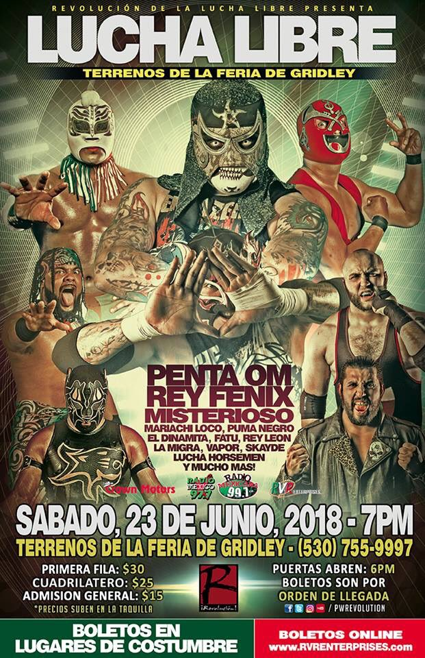 June 23rd @PWRevolution returns to Gridley, Ca with incredible action featuring @PENTAELZEROM @ReyFenixMx and an incredible roster!! #KgOnCommentary