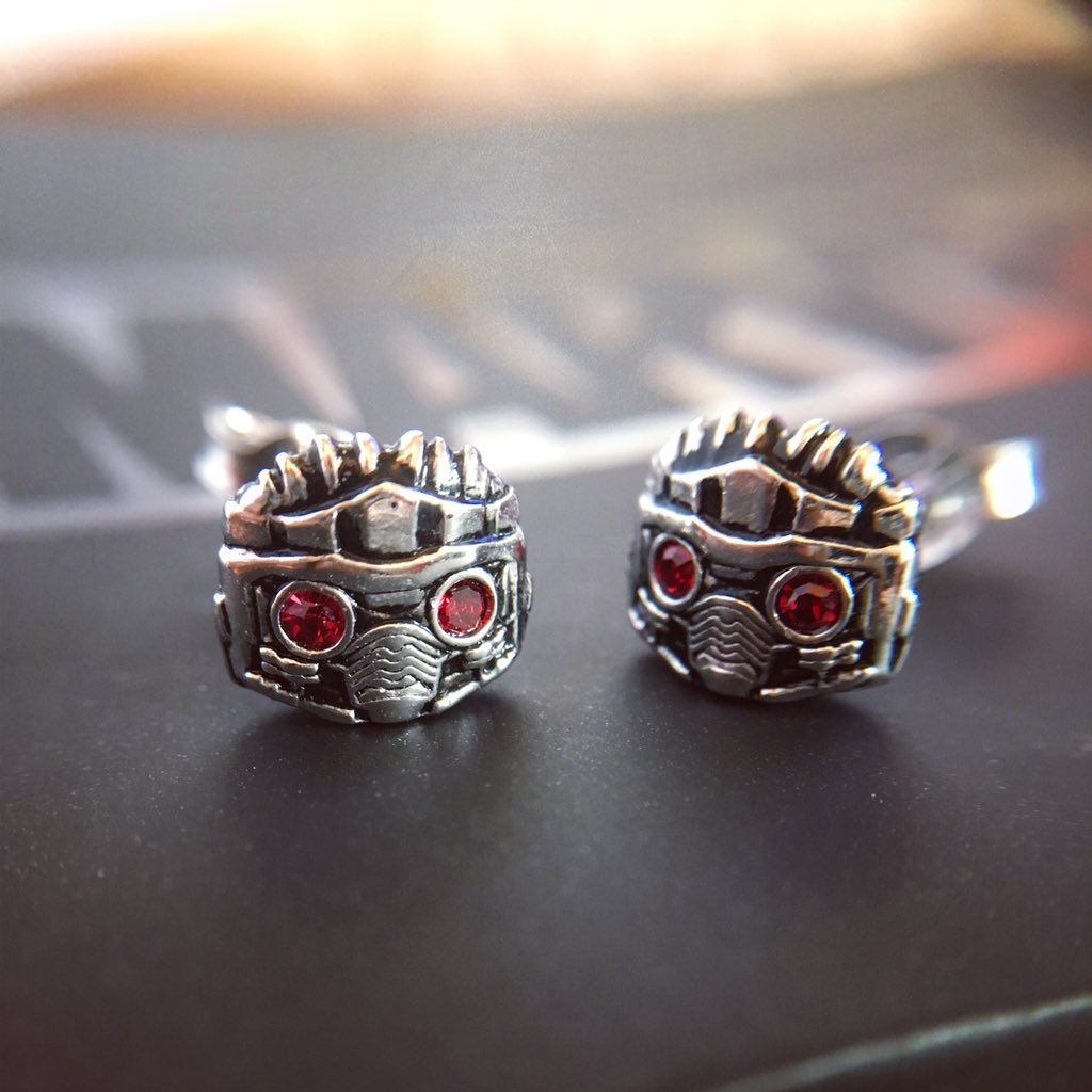 A pair of wee Star-Lords for your ears, the Legendary Outlaw himself💥 Celebrate #Infinitywar with Star-Lord stud earrings. Sterling silver with sterling posts and clutches, span 8mm wide and are accented by glittering red faceted CZ available on RockLove.com