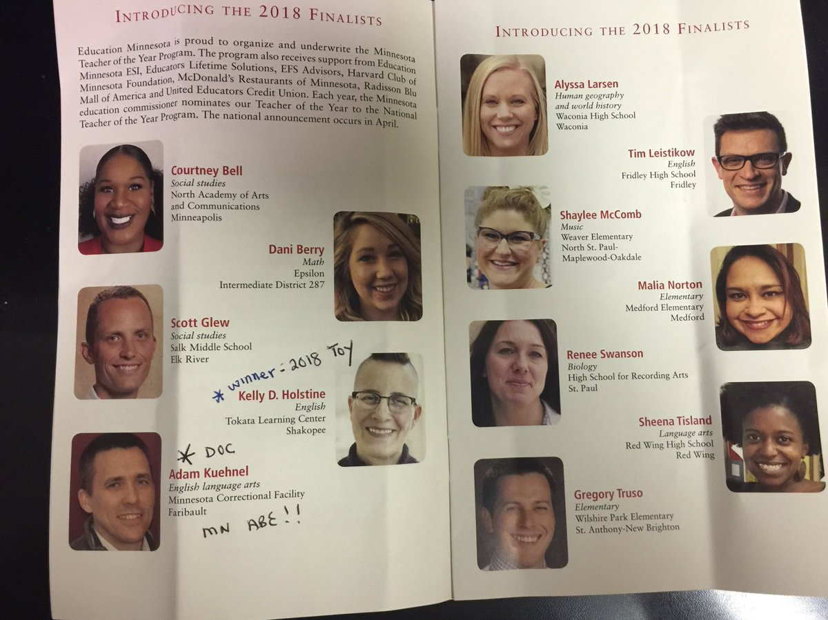 ... Holstine-Tokata Learning Center, Shakopee on being named 2018 MN  Teacher of the Year! And huge kudos to our own Adam Kuehnel, MCF-FRB ABE,  TOY Finalist!