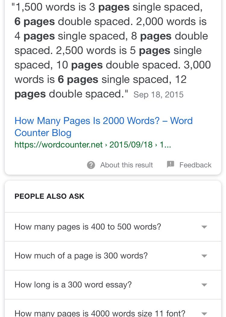 how many pages is 400 words double spaced
