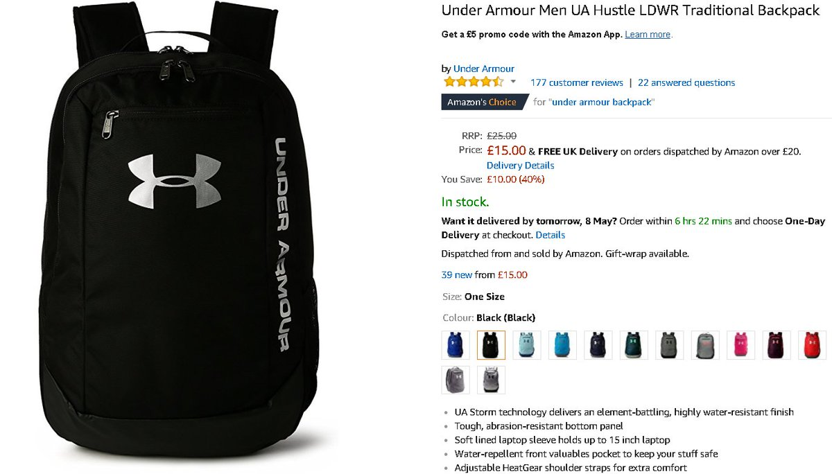 5f95f00d9b65 NEW LOW PRICE Under Armour Men UA Hustle LDWR Traditional Backpack  https   amzn.to 2KJo9rm pic.twitter.com LxC4E1V2OX