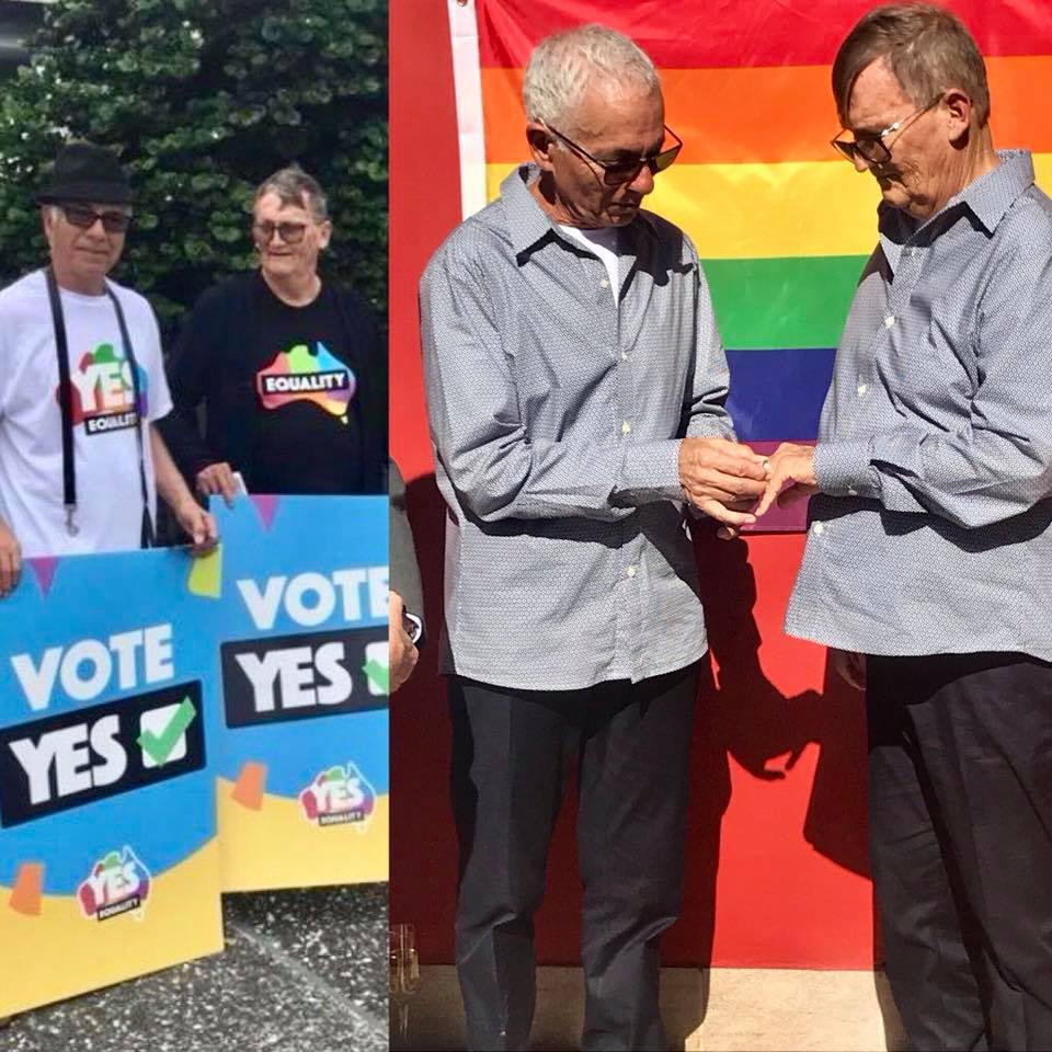 This is Gerard & Rauli. They are 2 of the many thousands of volunteers who took action during the  cam#MarriageEqualitypaign. Yesterday, after 44 years together, they finally got legally married!  Congrats Gerard and Rauli! ❤️🧡💛💚💙