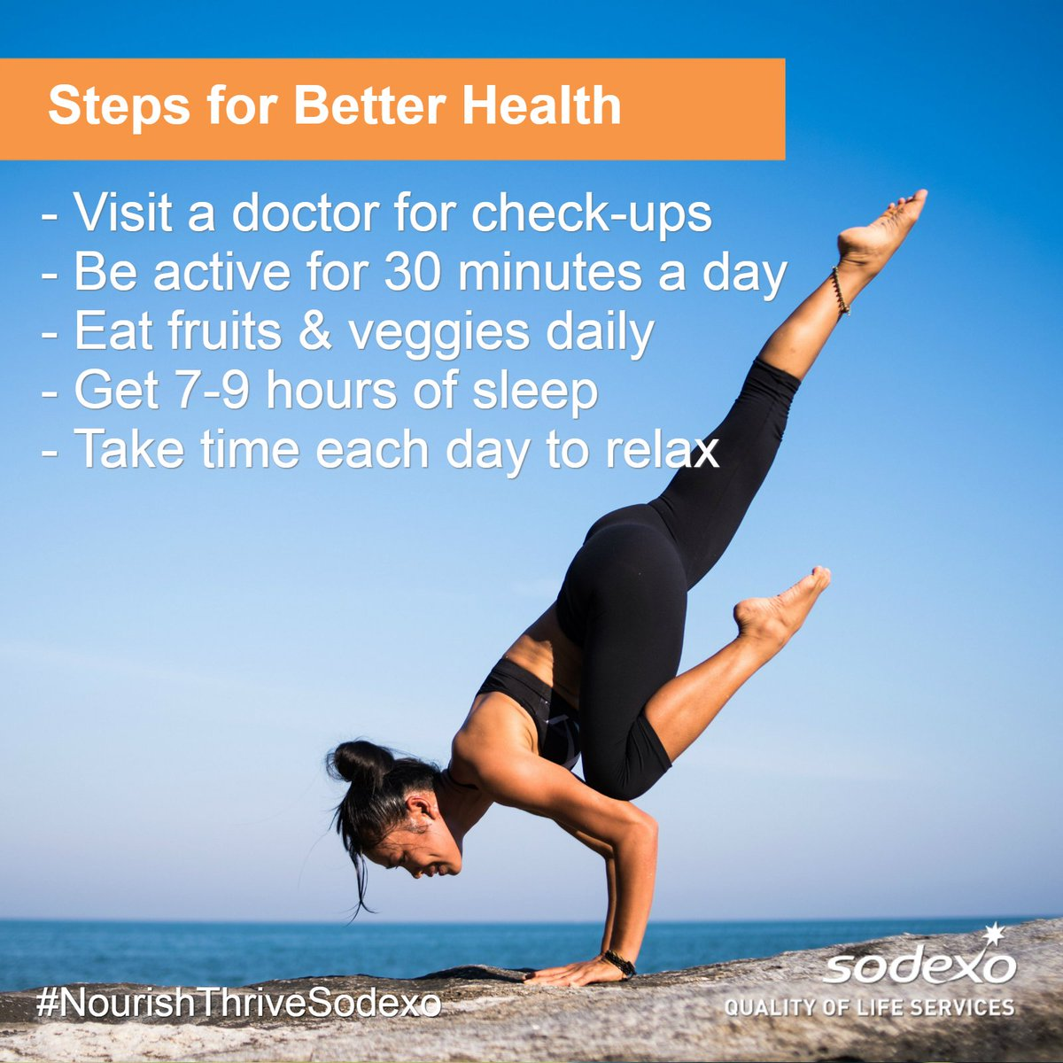 Minutes A Day O Eat Fruits Veggies Daily Get 7 9 Hours Of Sleep Take Time Each To Relax NourishThriveSodexo MotivationMondaypictwitter