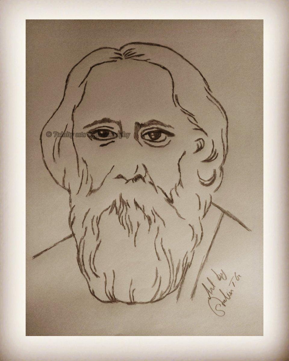 Hbdrabindranathtagore art pencilart pencilsketch rabindranath tagore was an author of gitanjali poet novelist musician playwright artist