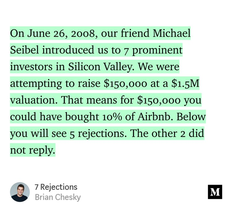 """test Twitter Media - """"On June 26, 2008, our friend Michael Seibel introduced us to 7 prominent investors in Silicon Valley. We were attempting to raise $150,000 at a $1.5M valuation. That means for $150,000 you could have bought 10% of Airbnb.""""—@bchesky https://t.co/pusXbuVUd2 https://t.co/YqObm5x5xs"""