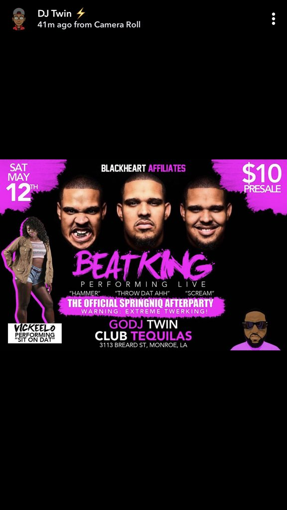 Lmfao bitch Beatking coming to Tequilas......#YAKWTFGO https://t.co/TgGJTrIQpC