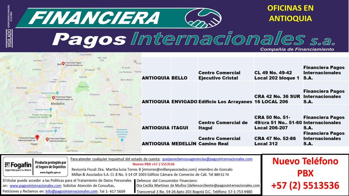 Pagos Internacionale On Twitter Financiera Pagos Internacionales S A Nuevas Oficinas En Antioquia Con Supergiros Más Información En Https T Co Ocknyvrcek Https T Co Dub3yz6lgh