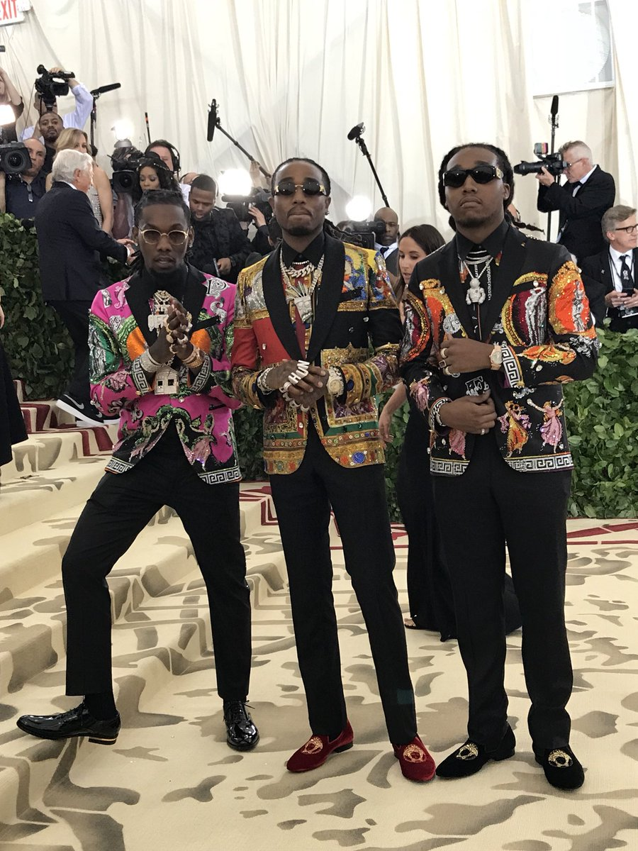 .@Migos arrives together to the #MetHeavenlyBodies red carpet.