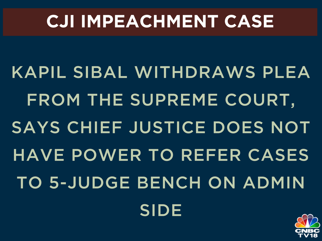 #JustIn | In a new development to the #cjiimpeachment case, @KapilSibal has withdrawn plea from the Supreme Court, saying there is no point in arguing before court if court can't provide CJI's admin order<br>http://pic.twitter.com/8q0qvOTx8v