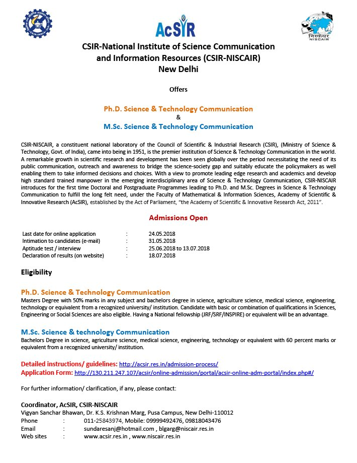 Brics Innovation On Twitter Csir Niscair Introduces Phd Msc In