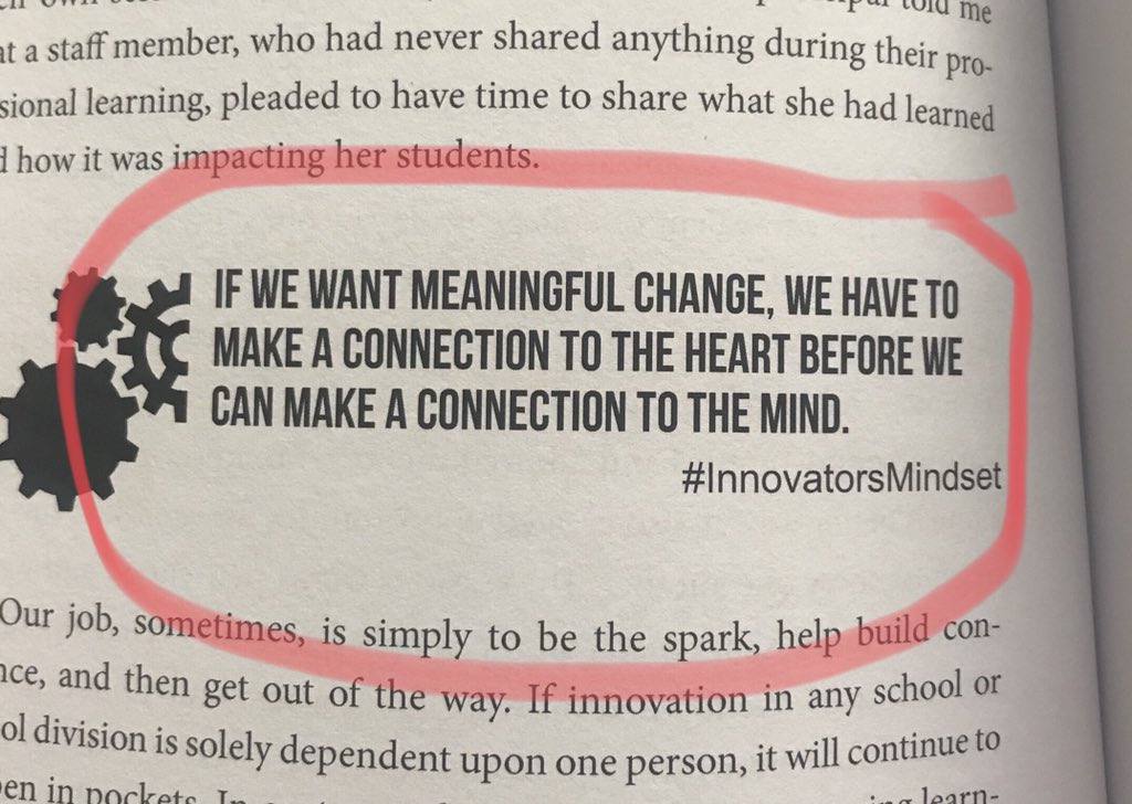 I'm about halfway through the book #InnovatorsMindset, and this quote hit me. Hard. @gcouros