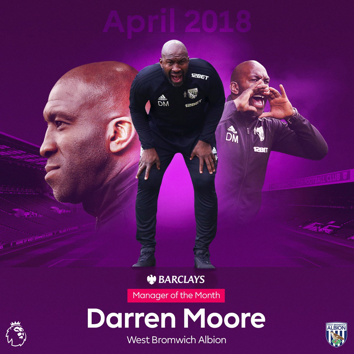 👏 🥇 👏   Congratulations @DarrenMooro - @BarclaysFooty Manager of the Month for April  #PLAwards