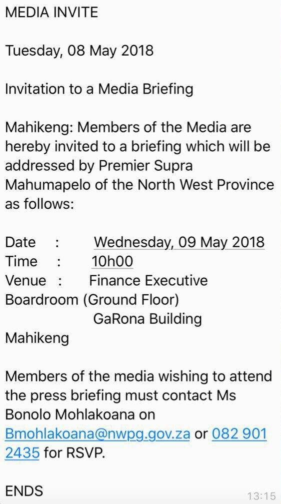 North West premier Supra Mahumapelo will address the media tomorrow  morning.  sabcnews dba9723fb0dd