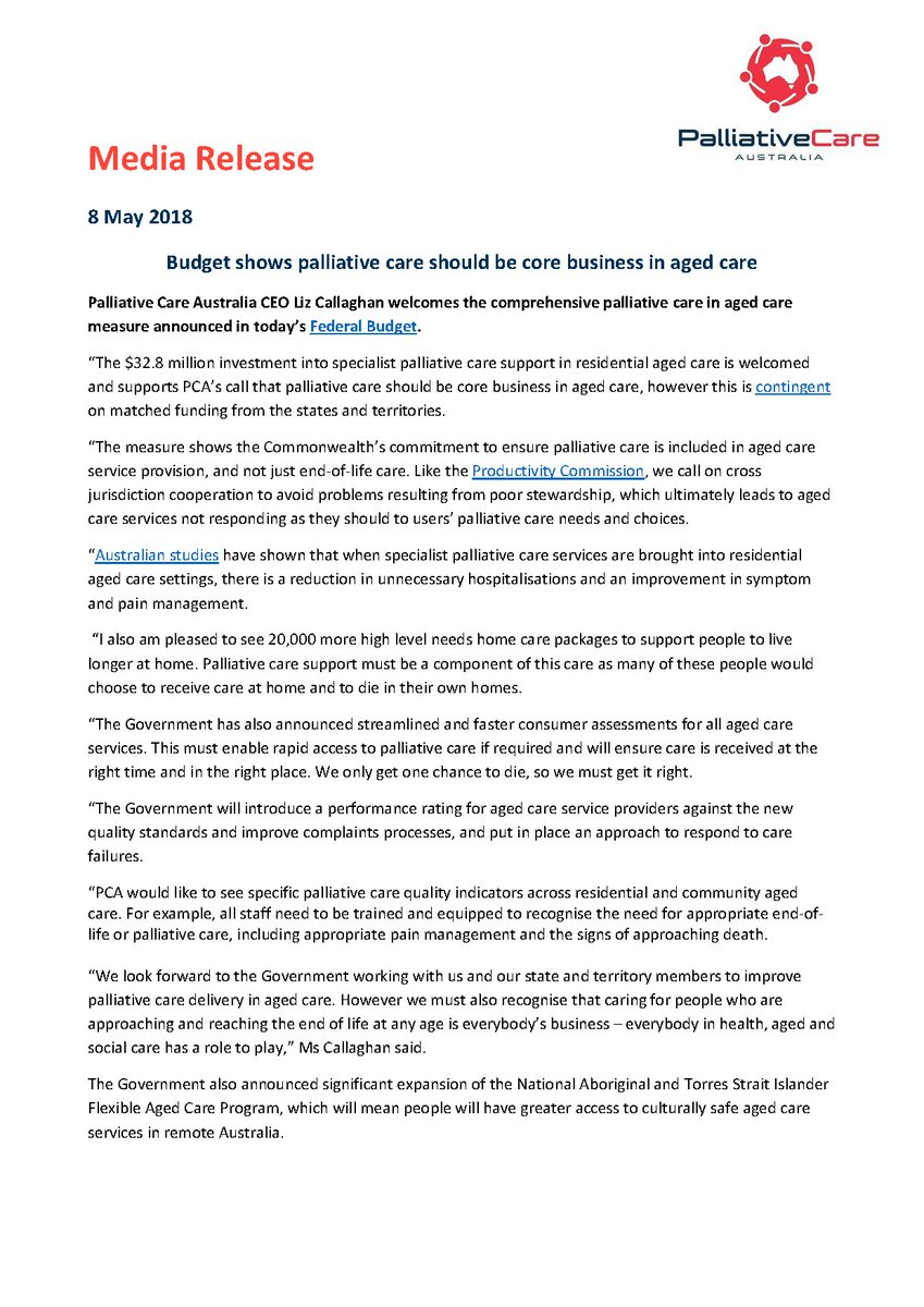 Palliative Care Aus On Twitter Pca Media Release Budget Shows
