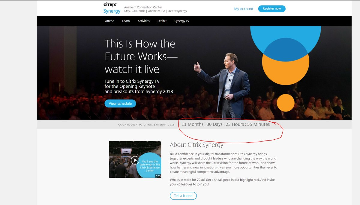 guy leech on twitter the citrixsynergy countdown timer was