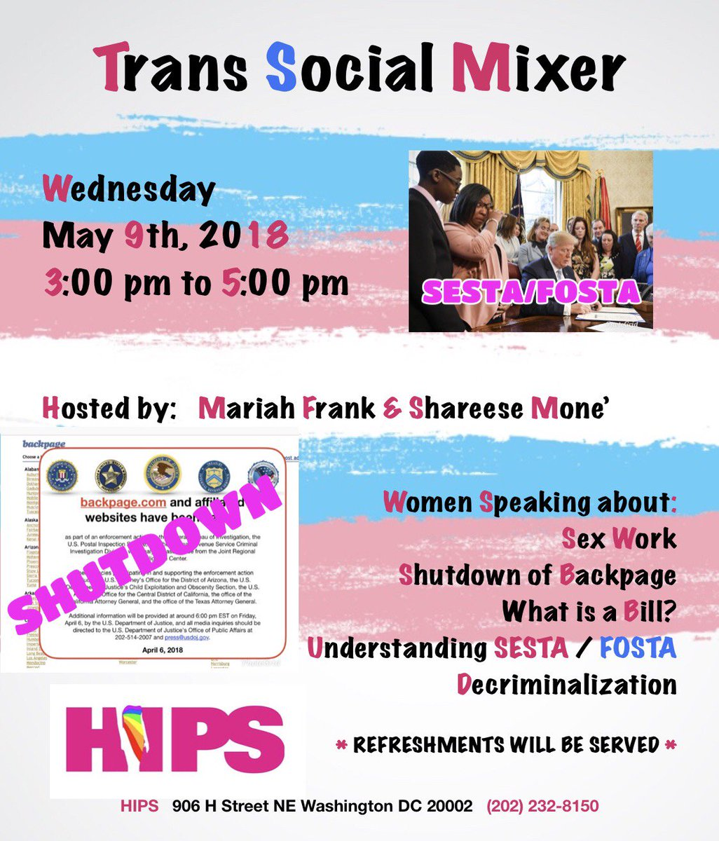 Want To Learn The Impact Of Sesta Fosta Join Us Tomorrow At Hips From 3 5 Pm As We Discuss What Is Going On And What We Can All Do To Help Each Other