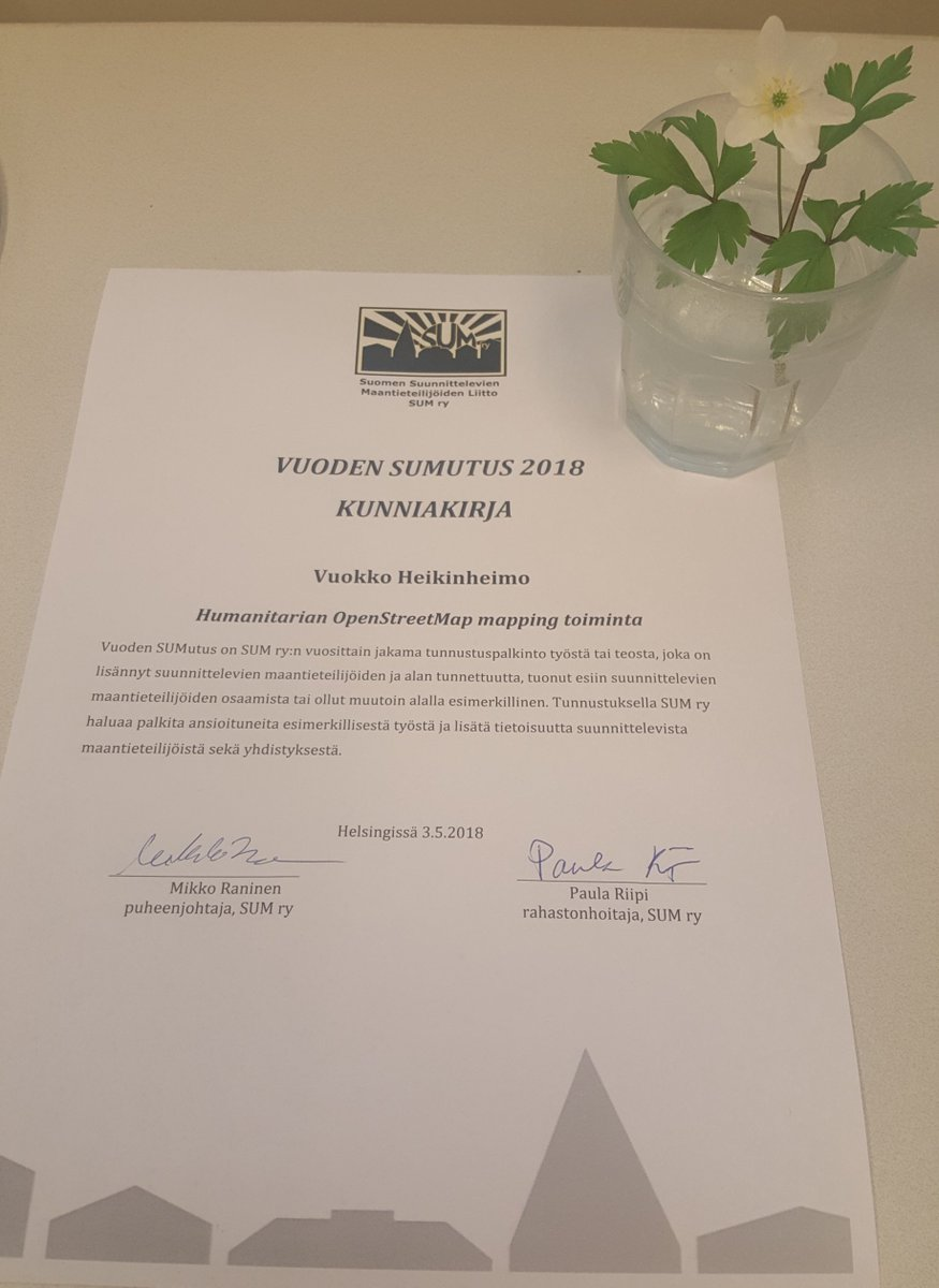 kiitos sumry finnish planning geographers association for recognizing the work with humanitarian opensteetmap mapping in finland