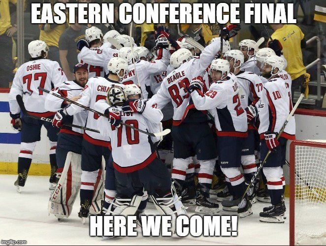 No, it wasn't a dream. The Caps really are headed to the Eastern Conference Final! #ALLCAPS @wusa9