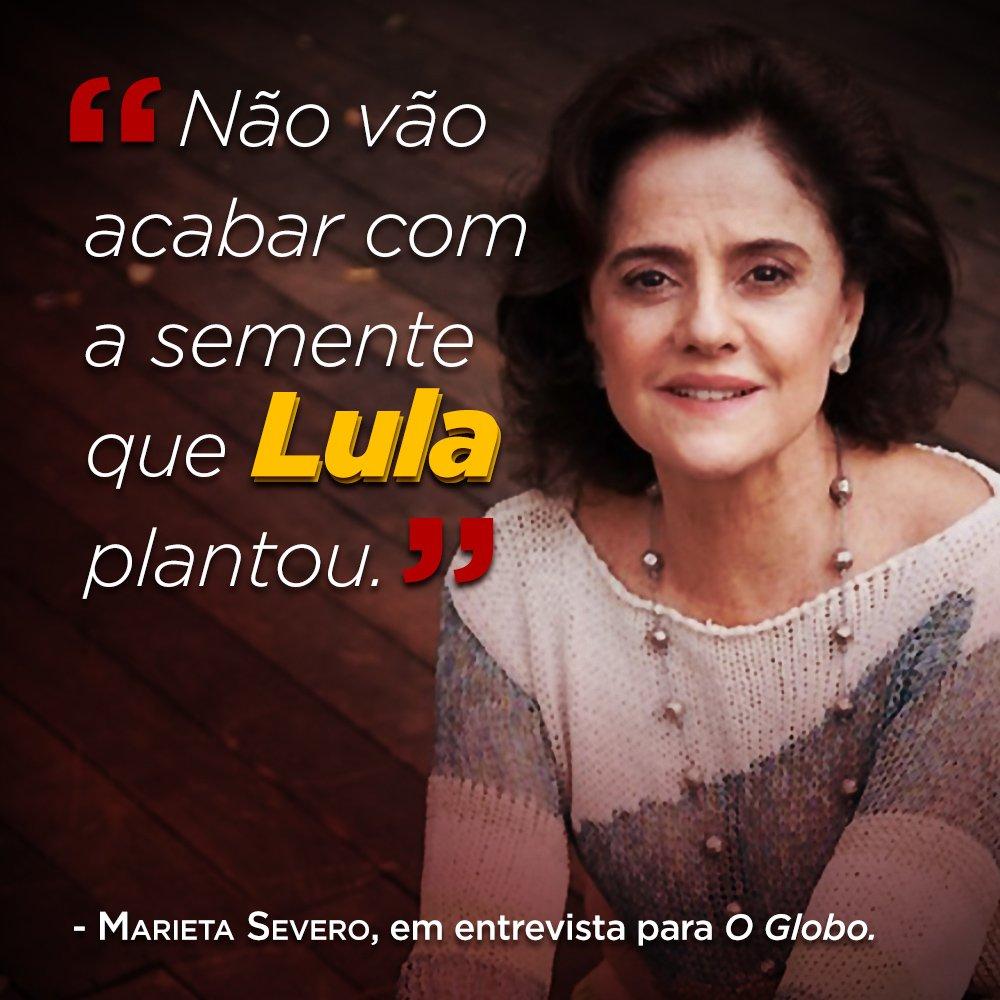"""""""Não vão acabar com a semente que @LulapeloBrasil plantou.(...) Nos anos Lula, tinha a sensação de que alguém estava fazendo algo para diminuir a desigualdade social"""", disse a atriz Marieta Severo. #LulaLivre"""