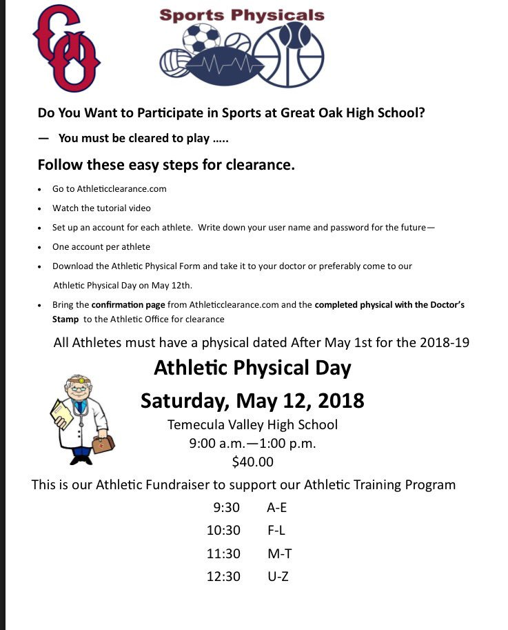 """florida sports physical form 2019  Great Oak Baseball on Twitter: """"FYI to all 13-13 Athletes… """""""