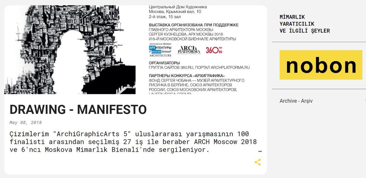 """Çizimlerim  """"ArchiGraphicArts 5"""" uluslararası yarışmasının  100 finalisti arasından seçilmiş  27 iş ile beraber  ARCH Moscow 2018 ve  6'ncı Moskova Mimarlık Bienali'nde  sergileniyor.  http://www.hasancenkdereli.com/2018/05/drawing-manifesto.html…pic.twitter.com/4ehJe6Z1bY"""