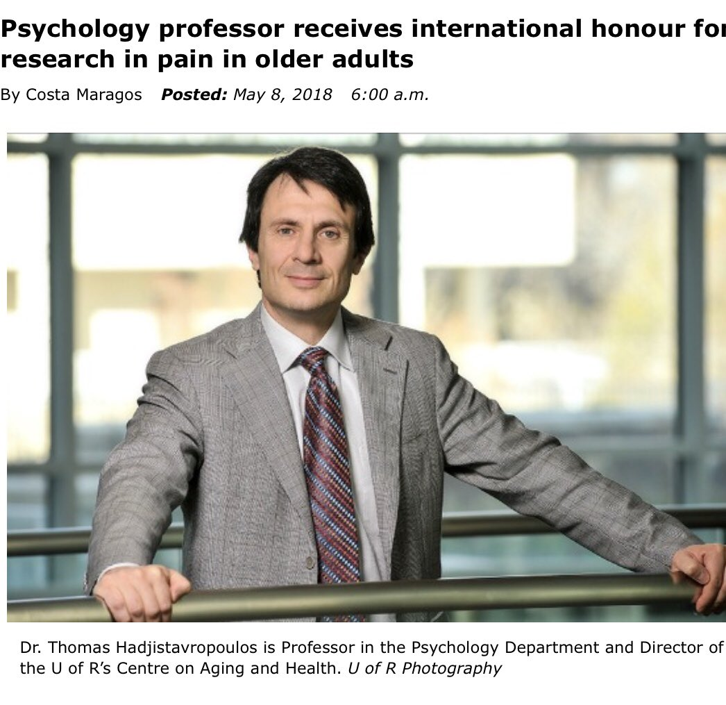 Congratulations to @UofRAgingCentre Dr Thomas Hadjistavropoulos for  receiving an international honour for his pain research among older  adults!! ...