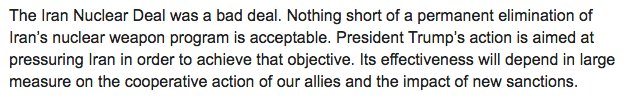 My statement on the Iran Nuclear Deal.