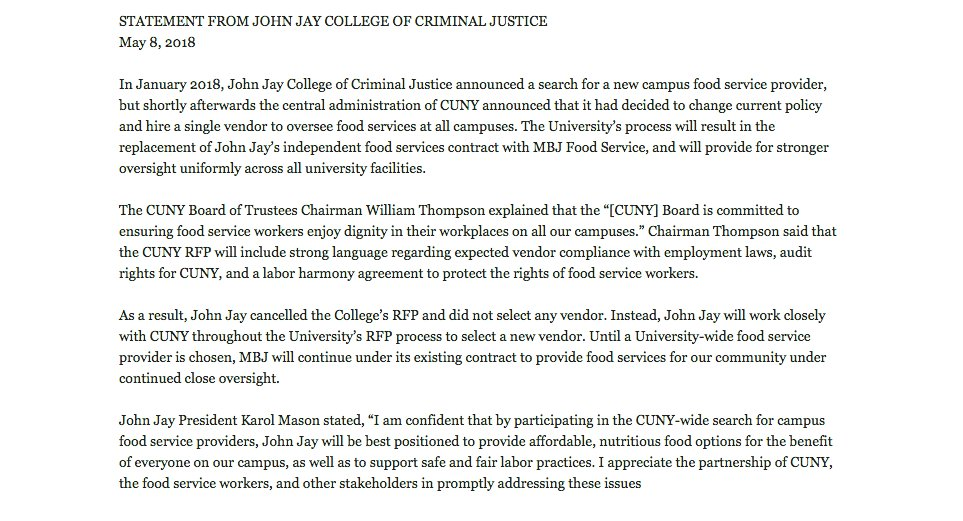 Karol Mason On Twitter John Jay College Supports Fair Labor