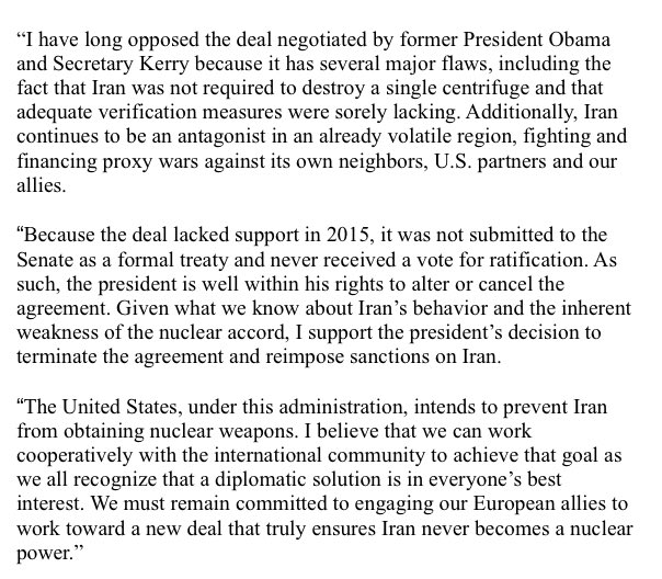 Senator John Boozman On Twitter Given What We Know About Irans