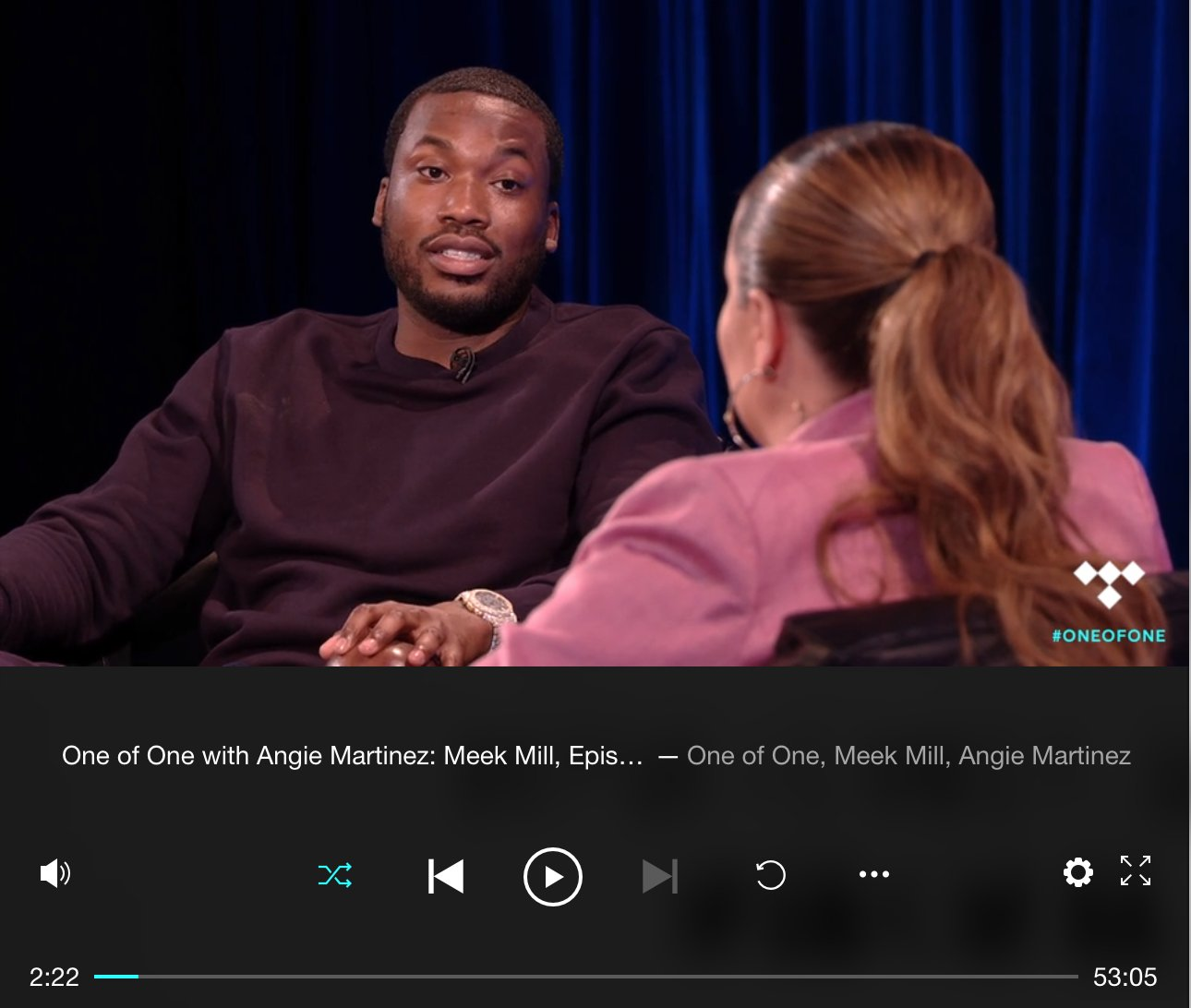 #OneOfOne Host: @angiemartinez Guest: @MeekMill https://t.co/qp4DuH2dHT #TIDAL https://t.co/JkwDJlipPt