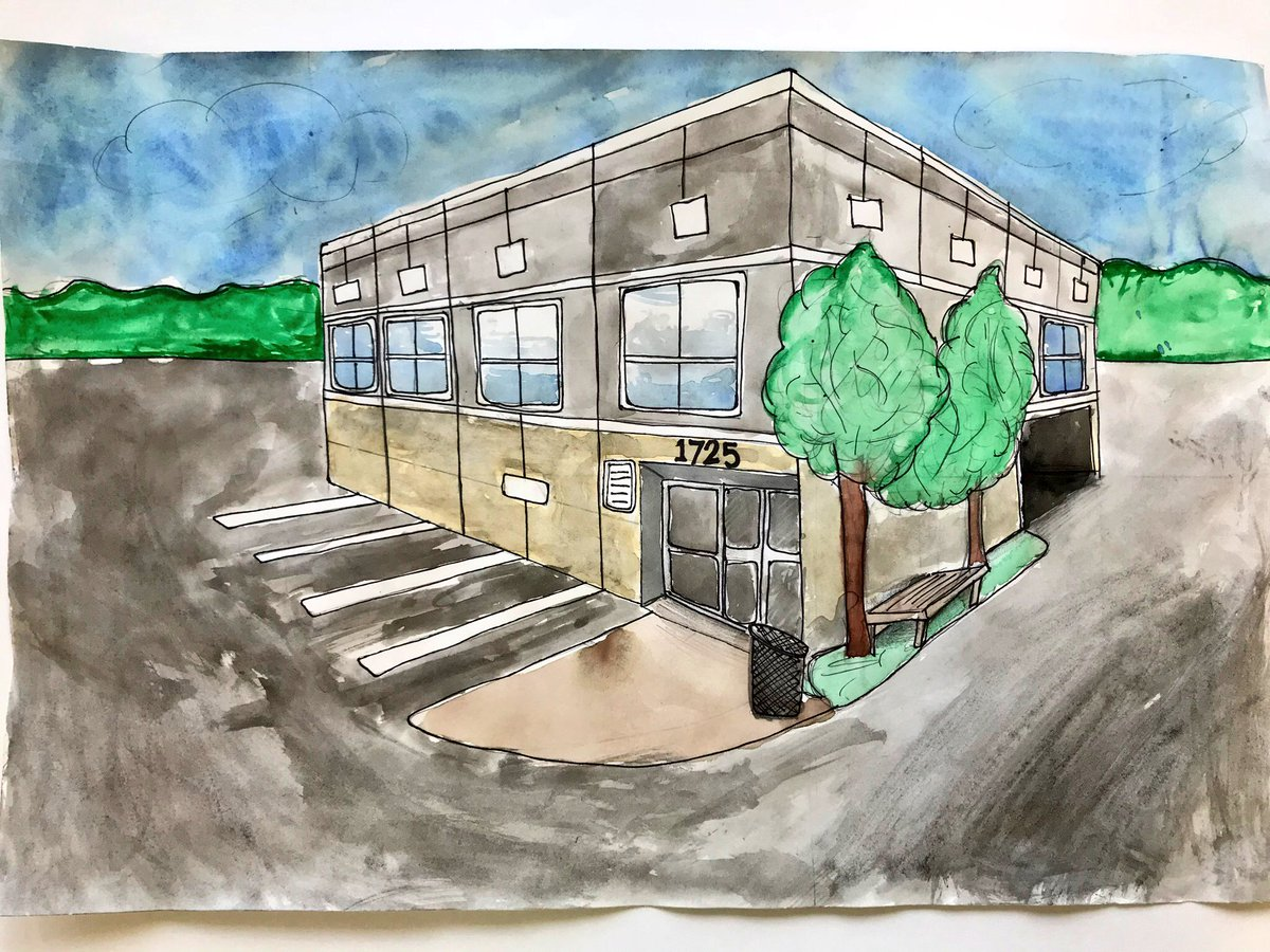 Nic seeley on twitter student artists use pencil and watercolor to create 2 point perspective drawings with exceptional detail