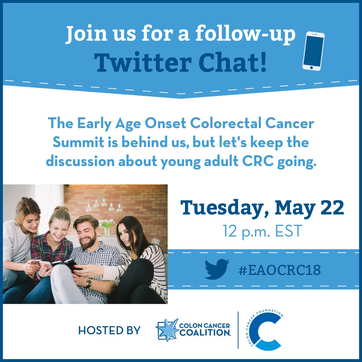We're eager to share key topics and take-aways from the Early Age Onset CRC  Summit. Save the date: Tuesday, May 22, 12 p.m. EST @CCChallengeFdn ...