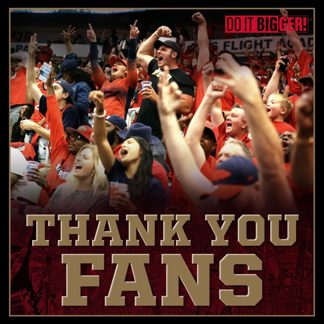 Thank you #Pelicans fans for the tremendous support this season!   #doitBIGGER https://t.co/vjVAOyYZEd