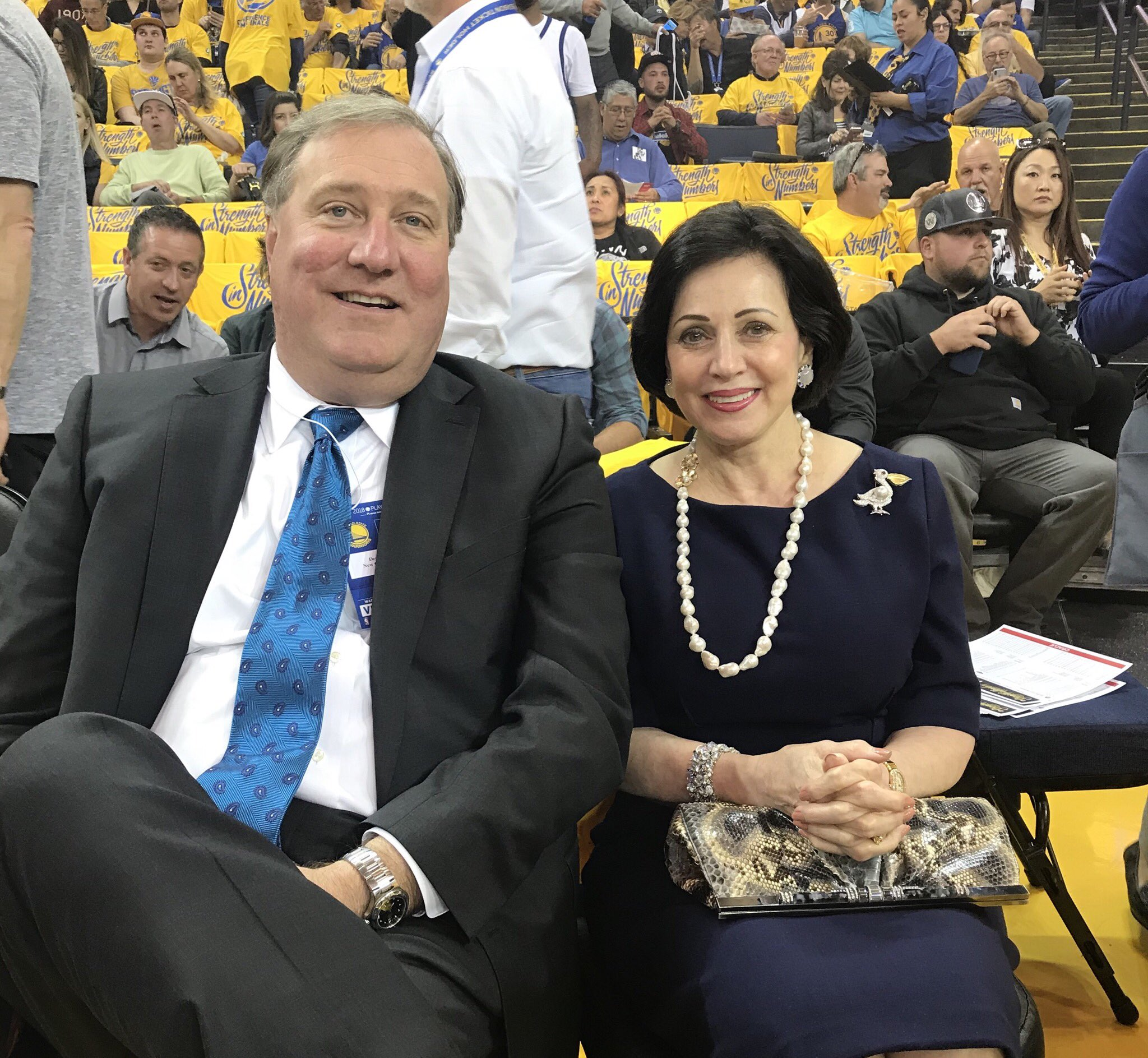 #Pelicans Owner Mrs. Benson and Team President Dennis Lauscha at Game 5 ��  #doitBIGGER https://t.co/hP4UlP1CtR