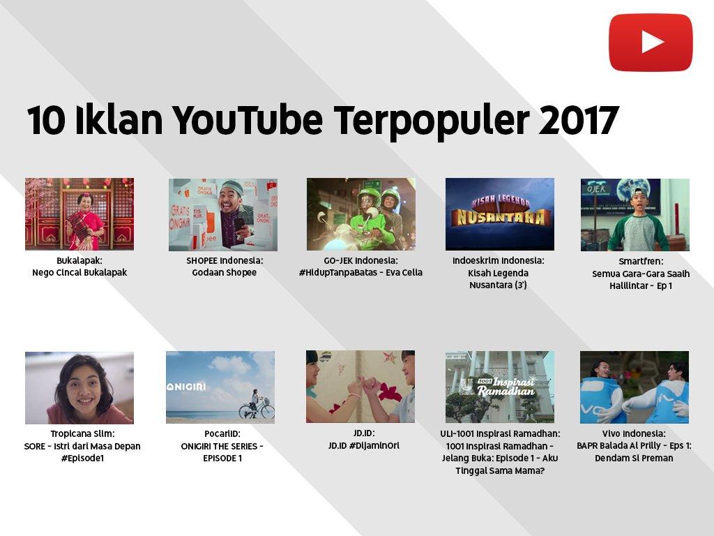 Google Indonesia: 10 Iklan Terpopuler di Youtube 2017 - 2