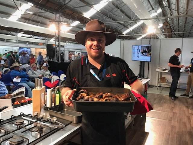 Michael Weldon ex MasterChef now cooking at the Walter Pearce Pavilion for Beef Week – get inspired to slow cook with Coles Beef Osso Bucco #BA2018 #BeefWeek #BeefAus2018