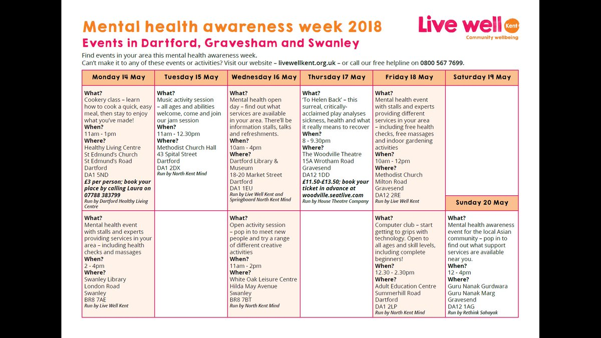 Next week is #MentalHealthAwarenessWeek and there's lots of helpful events  and activities taking place in Dartford and the surrounding areas, ...