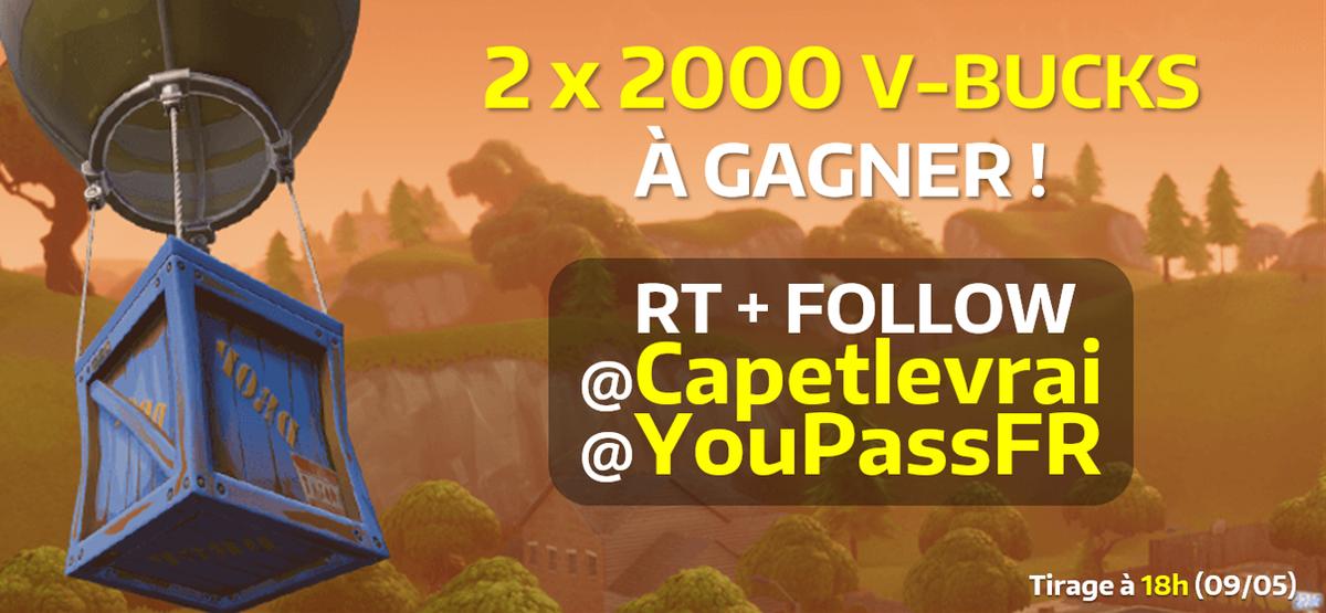 #CONCOURS EXPRESS   2000 V-BUCKS à gagner pour toi et ton/ta pote !    Suivre @YouPassFR &amp; @Capetlevrai  #RT ce tweet  Mentionne un(e) ami(e)   TAS ce soir 18H !<br>http://pic.twitter.com/TjZxjIRT9r