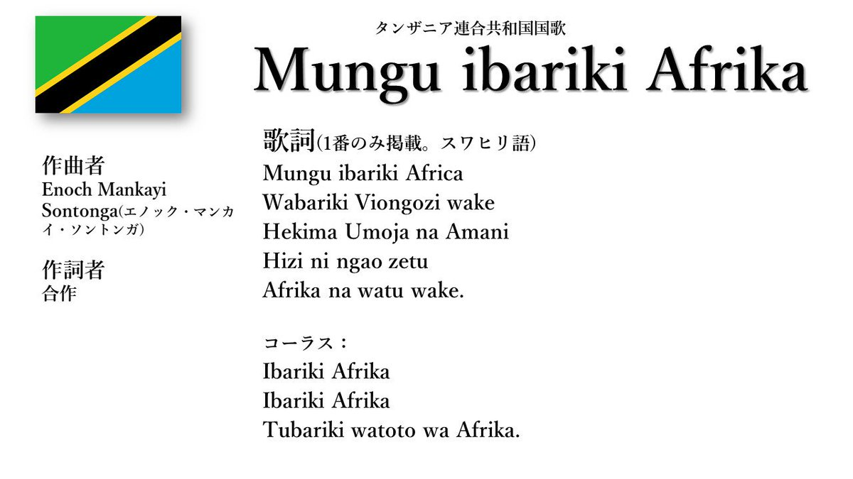 """世界の国歌BOT on Twitter: """"タ..."""