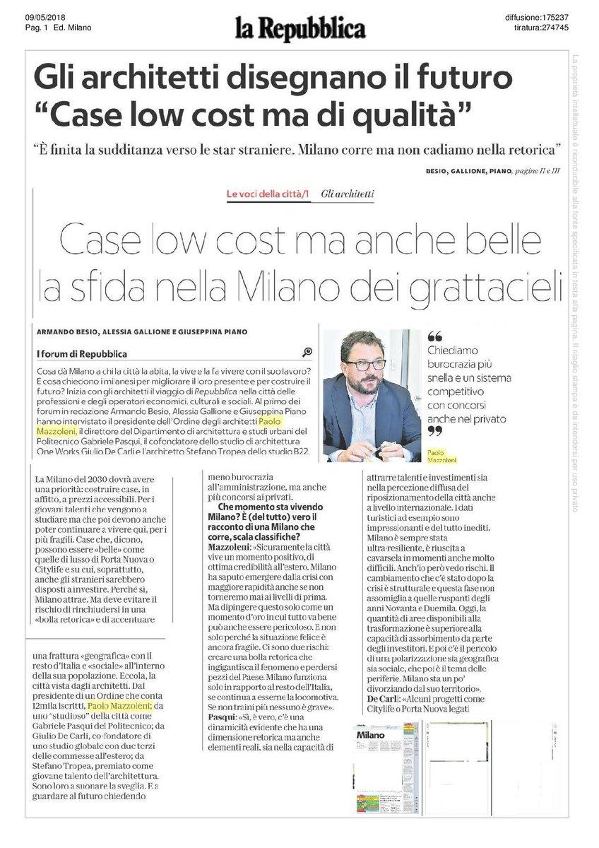 Ordine Architetti Milano on Twitter: 🆙Oggi, su La Repubblica, la ...
