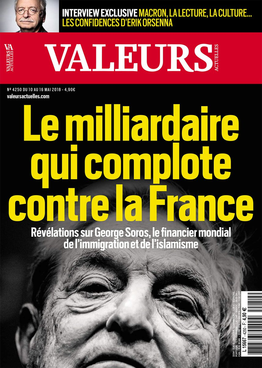 Cette semaine dans Valeurs : George Soros, le milliardaire qui complote contre la France >> https://t.co/AfivWk9WKd