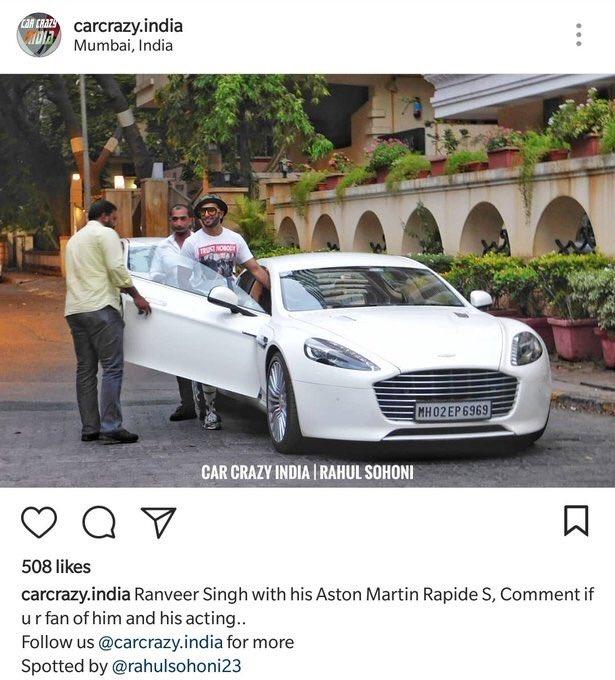 Aston Martin Rapide S Ranveer Singh