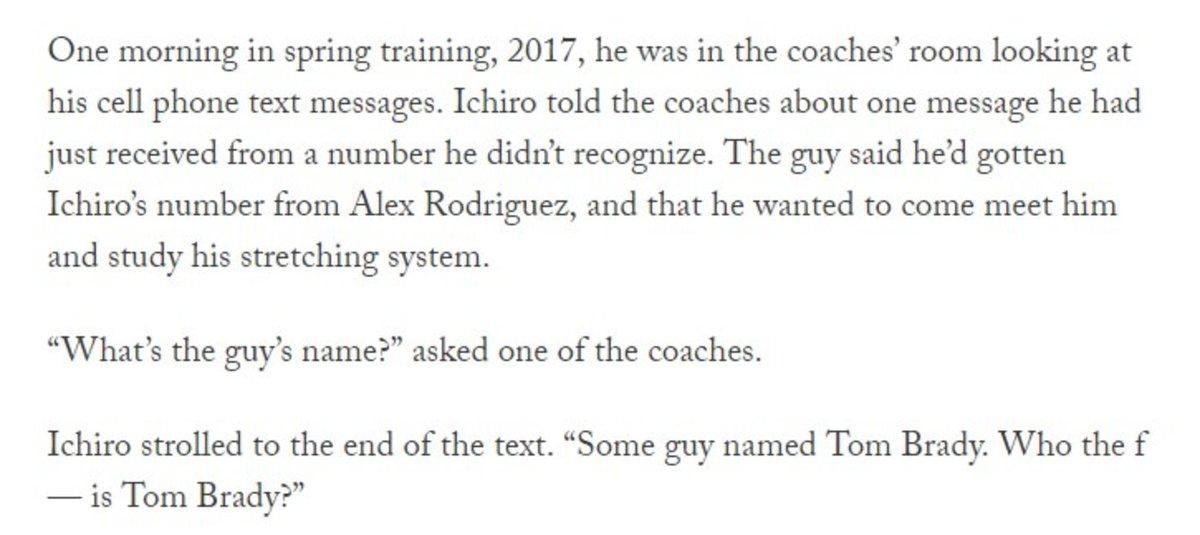 Ichiro: Who the F is Tom Brady?!