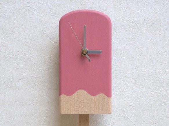 『アイスキャンディー振子時計』  アイスキャンディーのバーの部分が左右にゆれる振子になっています。 チョコ・ミント・ストロベリー・レモン・ソーダの5種類。